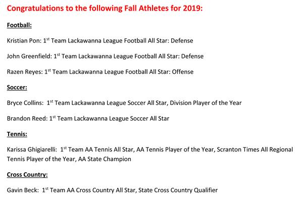 Congratulations to our Fall Sports Athletes!