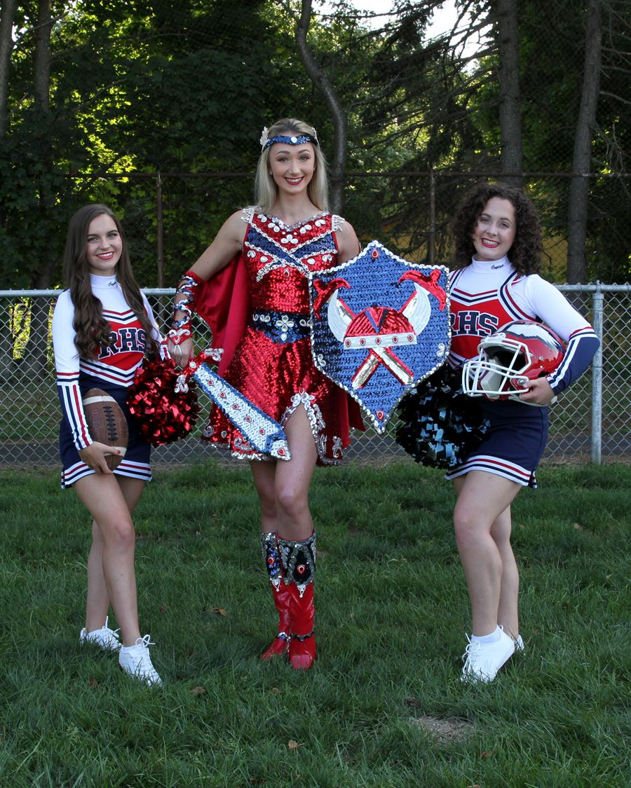 Miss Viking, Amanda Merrick-Tompkins, with Co-Captains, Maria Castaldi and Kristen Lello