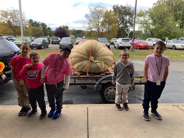 The Great Pumpkin comes to West!  Special thanks to the Gawel family of Taylor for dropping by to display their 1,275 pound pumpkin for our students!