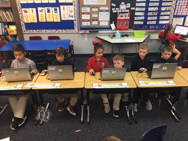 Mrs. Schuback's Second Grade class uses chrome book for Math practice!